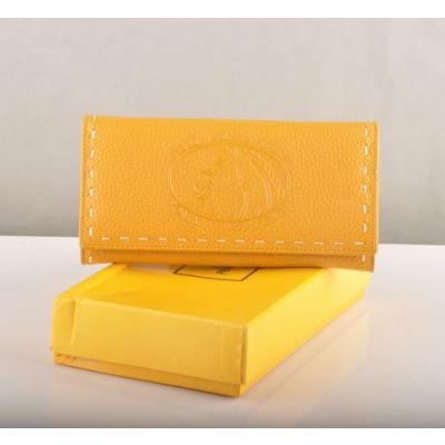 Good Reviews Fendi Horse Stamped Hand Stitching Edge Ladies Zipper Change Purse Yellow Leather Flap Wallet