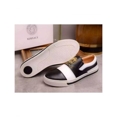 Hot Selling Versace Two-tone Rubber Outsole Mens Black-White Calfskin Leather Loafers With Yellow Medusa Jacquard