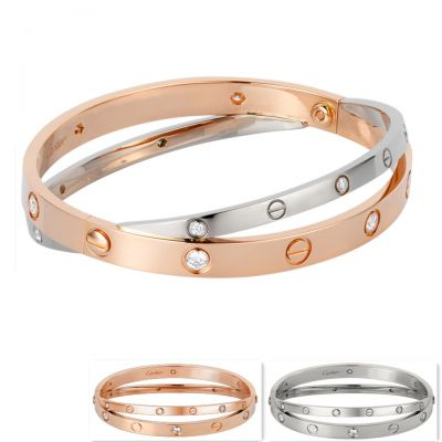 Cartier Love Double Bracelet Replica 12 Diamonds N6039117 Pink & White Gold Celebrity Style