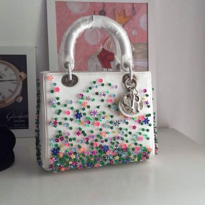Special Dior Lady Three-dimensional Sequins Colorful Flowers Lambskin Totes Silver D.I.O.R Charm For Girls