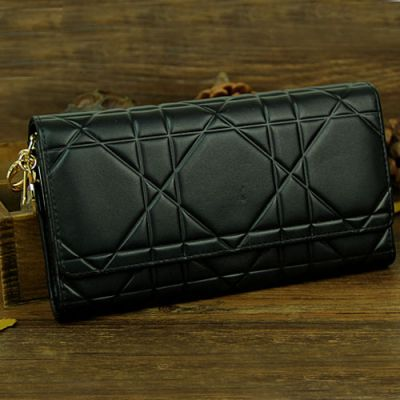 """Dior Flap Cannage """"Lady Dior"""" Black Patent Leather High End Long Wallet 2017 Price"""