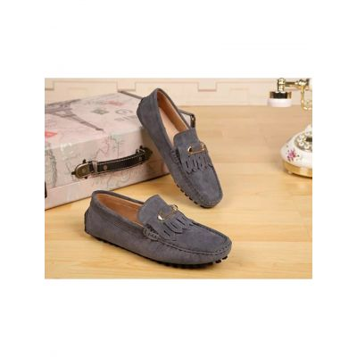 Burberry Yellow Gold Plated Design Gray Nubuck Leather Ladies Kiltie Fringe Slip-on Loafers Price List