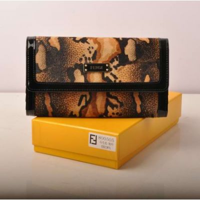 Top Sale Fendi Black Patent Leather & Coffee Horsehair Leather Long Flap Clone Wallet For Ladies