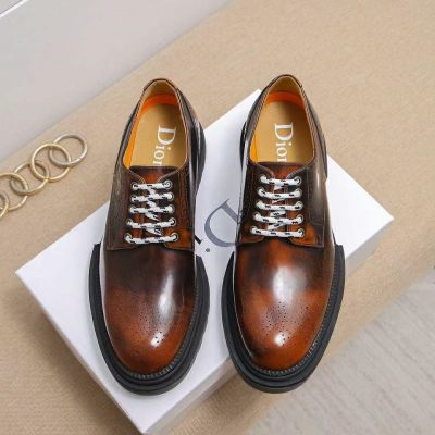 Replica Dior Retro Style Brown Cow Leather Upper Black Rubber Lace-up Fake Casual Shoes For Mens
