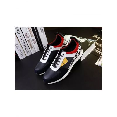 Fendi Silver Heel Chic Bugs Eye Motif Mens Multicolour Lace-up Sneakers In Calfskin Leather & Suede Leather