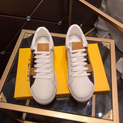 High End Fendi F Logo Pattern Brown & Coffee Patchwork Detail Classic White Calfskin Leather Sneakers For Mens
