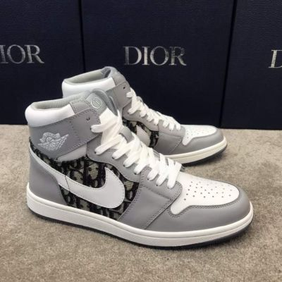 Hot Selling Dior Oblique Galaxy & Nike Detail High-Top Grey White Calfskin Leather Lace-up Sneakers For Men