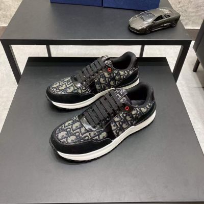 Dior Spring Hot Selling Oblique Motif High End Suede Leather Male Lace-up Patchwork Sneakers UK