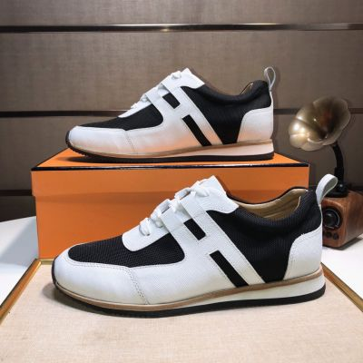 Hermes Partner H Detail Canvas & Calfskin Leather Mens Fashion Lace-up Patchwork Minimalist Sneakers White/Black H172300ZH01410/H172408ZH02405