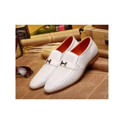 Hermes Business Style Mens Logo Buckle Trimming White Calfskin Leather Perforated Mocassins & Loafers Shoes Replica
