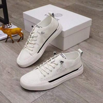 Versace Low Price White Calfskin Leather Greca Embroidery Motif Black Edging Male Lace-up Sneakers Replica