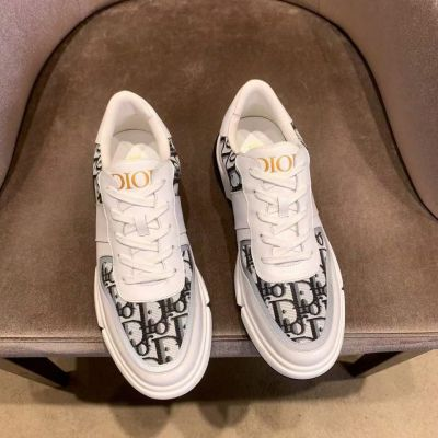 High Quality Dior White Genuine Leather Men Lace-up Logo Oblique Galaxy Printing White & Black Rubber Sole Sneakers