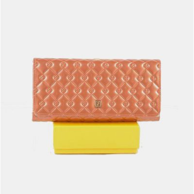 2017 New Tri-fold Many Card Slots Salmon Patent Leather Long Womens Cannage Quilted Wallet Replica