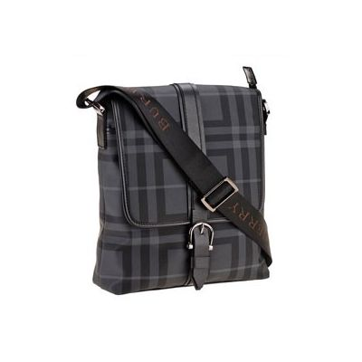 Office Style Burberry Silver Hardware Unisex Grey Check Crossbody Flap Bag
