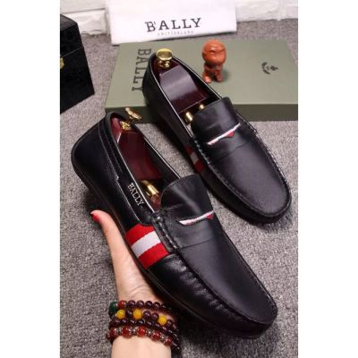 Best Price Bally Classic Trainspotting Stripe Pearce PU Loafers Mens Driving Shoes Black/Dark Blue