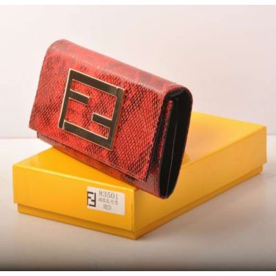 Cheapest Fendi Red Snake Leather & Black Patent Leather Lining Many Card Slots Flap Long Wallet