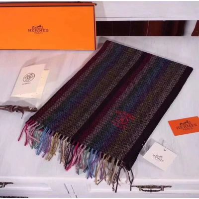 Hermes Dark Cashmere Scarves Colorful Tassels Print Wraps Shawl Unisex Christmas Gift Malaysia