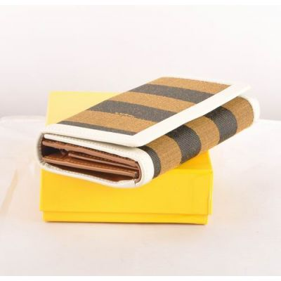 Fendi White Leather With Striped Fabric Many Card Slots Ladies Long Tri-Fold Long Wallet