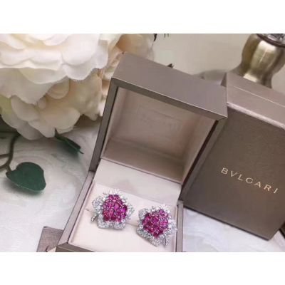 Bvlgari Floral Ruby Crystals Ear-stud Party Style Birthday Gift For Women Online Shopping Paris