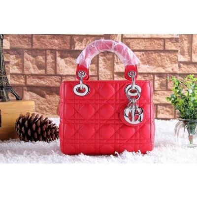 Dior Lady High End Top Handle Scarlet Lambskin Cannage Quilted Tote Bag Flap Closure Replica