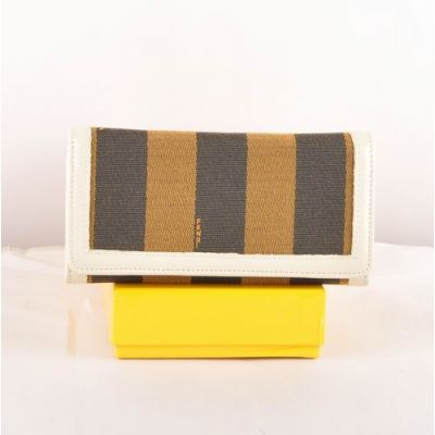 Long Fendi Many Card Slots Womens White Leather With Striped Fabric Long Flap Wallet For Discount