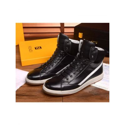 2017 New Fendi Guy Genuine Leather & Suede Leather Patchwork  High-top Lace-up Sneakers Black/White