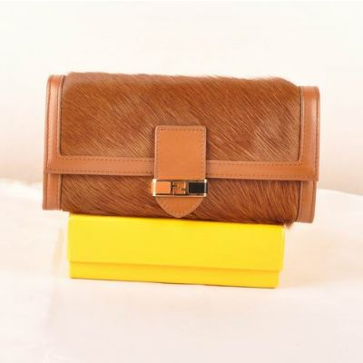 Fendi Two Compartments Many Card Slots Ladies Coffee Horsehair Leather Long Flap Wallet Replica