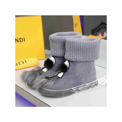 Fendi Luxury Diamonds & Fur Charm Ladies Suede Leather Wool Boots With Silver Rubber Outsole Black/Gray