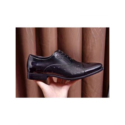 Imitation Classic Hermes Ostrich Embossed Leather & Patent Calfskin Leather Mens Black Lace-up Business Shoes