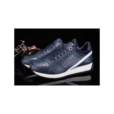 Classic Fendi Crocodile Embossed Leather Mens Dark Blue Lace-up Sneakers For Spring/Fall Replica