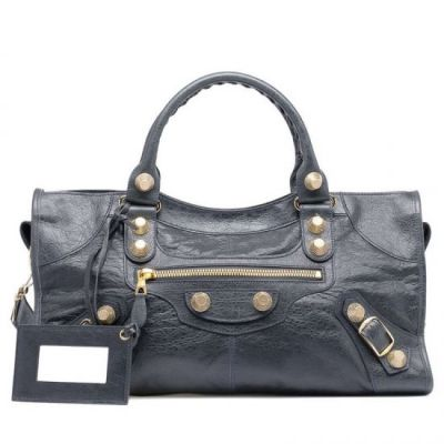 Coolest Balenciaga Yellow Brass Studs Giant 21 Part Time Anthracite Leather Ladies Long Totes Replica