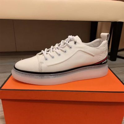 Versace Leisure Style Trainspotting Stripe Detail Transparent Rubber Sole White Calfskin Leather Male Lace-up Sneakers