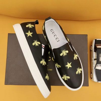 Men's Best Dior Classic Bee & Star Pattern Embroidery White Rubber Sole Black Calfskin Leather Slip-on Sneakers