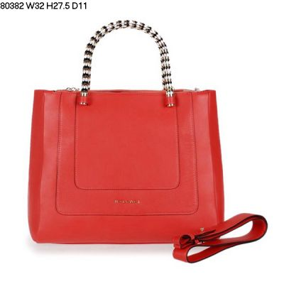 2017 Hot Sale Bvlgari Serpenti Bvlgari Logo Back Calfskin Leather Watermelon Red Women's Handle Bag