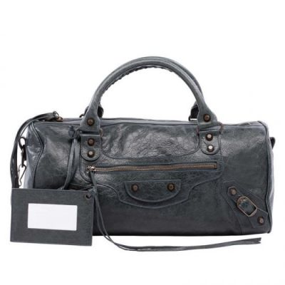 Balenciaga Special Edition Anthracite Leather Twiggy Ladies Aged Brass Studs Long Tote Bag Outlet