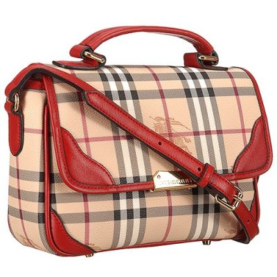 Cheapest Burberry Red Leather Strap Female House Check Fake Saddle Bag