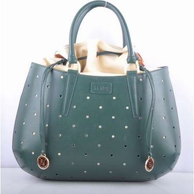 High Quality Fendi B Fab Green Leather Perforated Top Handle Handbag Long String With Golden Trimming