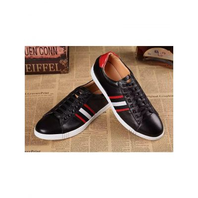 Bally Multicolor Trainspotting Stripe Detail Mens Daily Fashion Black Calfskin Leather Lace-up Clone Helvio Sneaker