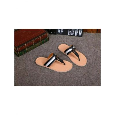Bally Waterproof Rubber Outsole Calfskin Leather & Fabric Mens Leisure Slides With Rose Gold Buckle Replica