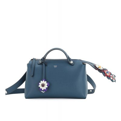 Fendi Colorful Appliquéd Navy Leather By The Way Boston Bag Flower Charm Silver Zipper For Girls