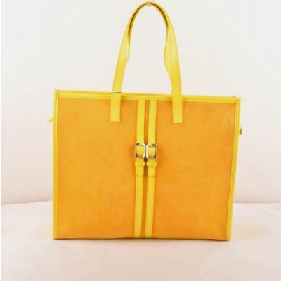 Fendi Top Handle Leather Belt Trimming Ladies Yellow Suede Leather Shoulder Bag 2-Tone Double F Buckle