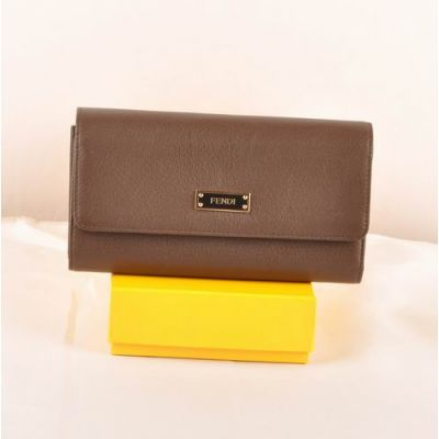 Long Coffee Fendi Black Enamelled With Golden Edge Bar Signature Female Many Card Slots Flap Wallet