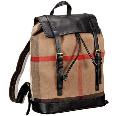 2017 Fashion Canvas Check Black Leather Male Backpack Gold Hardware