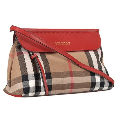 Burberry House Check Fake Female Clutch Bag Red Leather Strap Replica