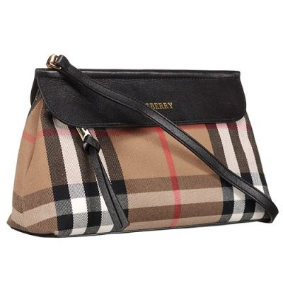 AAA Quality Burberry House Check Ladies Clutch Bag Black Leather Trim Crossbody Bag