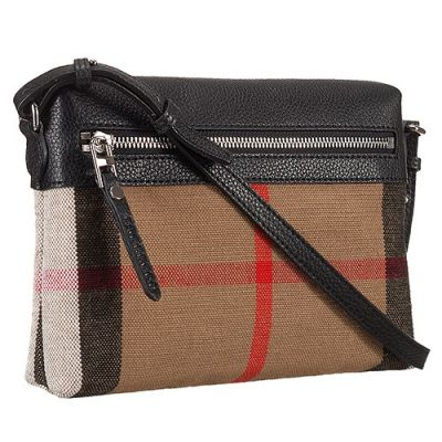Hot Selling Burberry Black Leather House Check Crossbody Bag Flat Silver Zipper