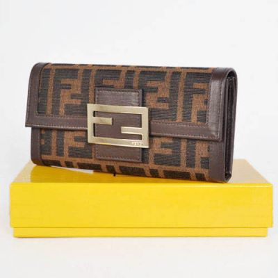 Fendi Coffee Leather & F Fabric Logo Buckle Female Long Flap Wallet Two Compartments With Zipper