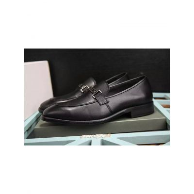 Imitation Bally Silver Buckle Classic Black Calfskin Leather Mens Business Shoes Sering/Fall Loafers