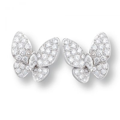 Van Cleef & Arpels Two Butterfly Diamonds Silver/Pink Gold/yellow Gold Clip Earrings Luxury Style Replica Women Price Canada ref  VCARB82900