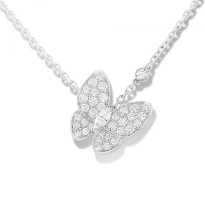 Van Cleef & Arpels Two Butterfly Pendant Sterling Silver Replica Necklace New Arrival VCARO3M400